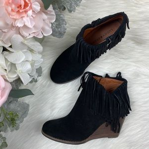 Lucky Brand Black Fringe Booties Size 7.5 NEW!